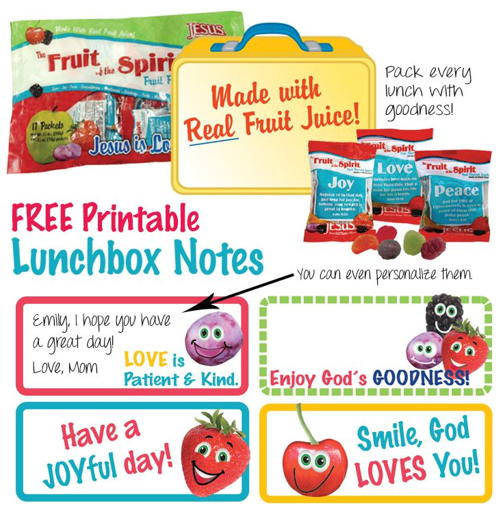 """Free Printable Fruit of the Spirit Lunchbox Notes! Brighten your child's day by sending them a special note in their lunchbox.  Each note has a """"Fruit of the Spirit"""" themed message. Pack every lunch with goodness!"""