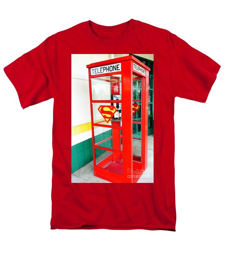 Purchase an adult t-shirt featuring the image of Superman Phone Booth by Michael Krek.  Available in sizes S - 4XL.  Each t-shirt is printed on-demand, ships within 1 - 2 business days, and comes with a 30-day money-back guarantee.