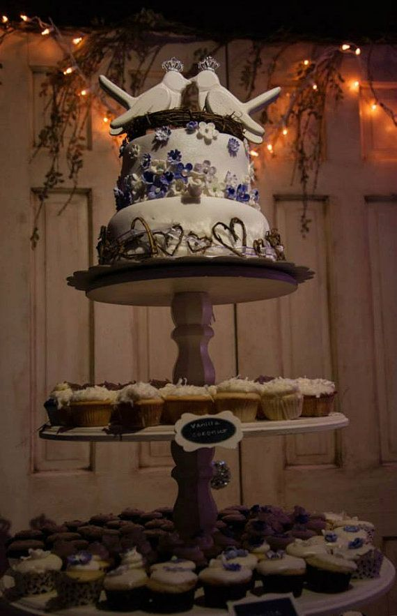 Tiered Cupcake Stand Shabby Chic Rustic by SwoonSweetsDesigns