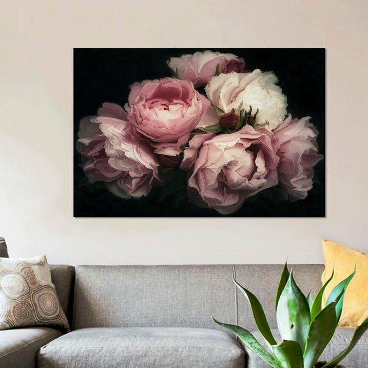 Vintage Posy Graphic Art Print On Canvas In 2021 Floral Wall Art Rose Gold Wall Art Gold Wall Art