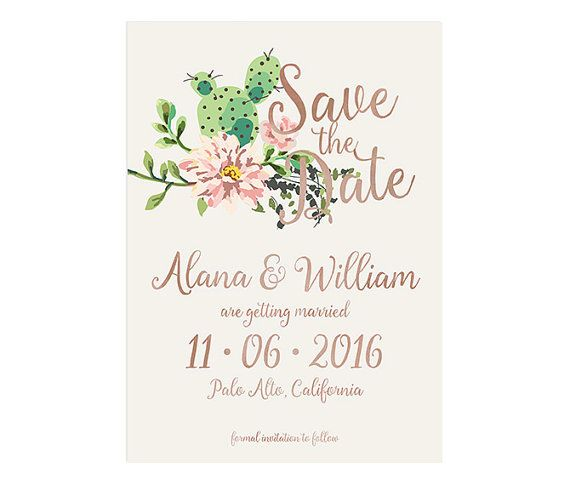 Cactus Wedding Save the Date Succulents Wedding by NKDNAprints