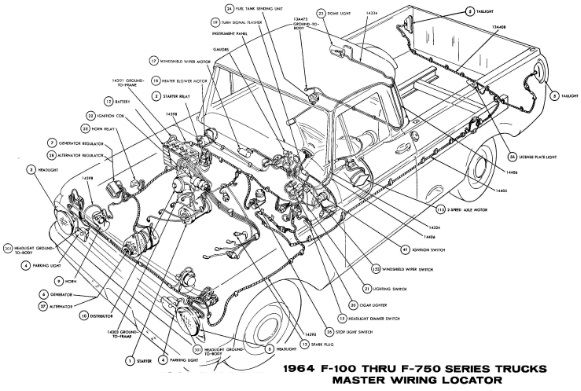 1964 Ford Truck F 100 Wiring Diagram Ford Truck 1964 Ford Diagram