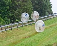 Way Out Sports: Zorbing! Zorbing is a recreational sport where participants roll down a hill in a transparent plastic orb. Perhaps we mean a large 'hamster ball'.  As a rule Zorbing takes place on rolling hill sides but people often use them on water and other flat surfaces.