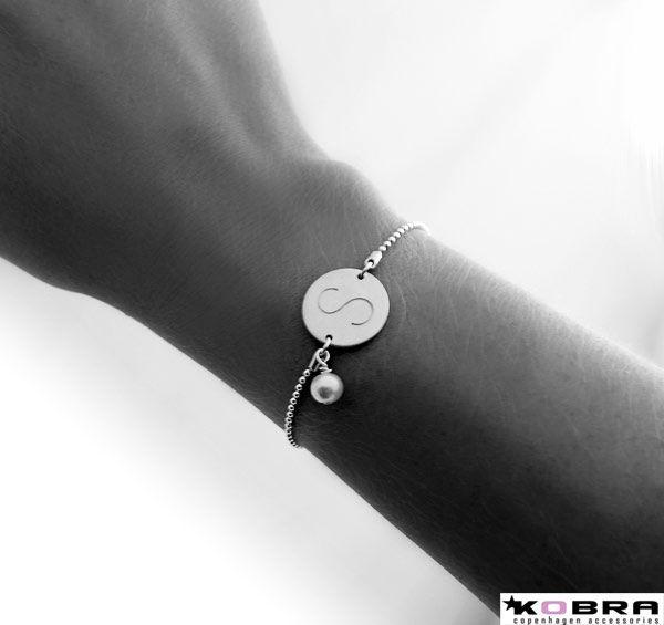ID Tag, sølv armbånd med perle, inklusiv gravering!