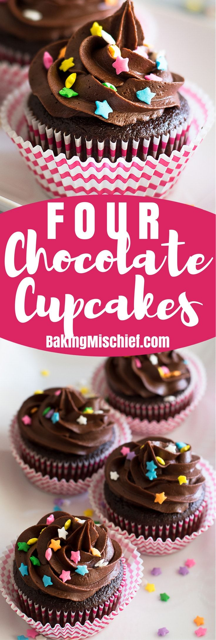 Small-batch Chocolate Chocolate Cupcakes with Chocolate Buttercream: rich, delicious, and amazing! | Chocolate desserts | Small-batch Cupcakes | Small-batch Desserts |