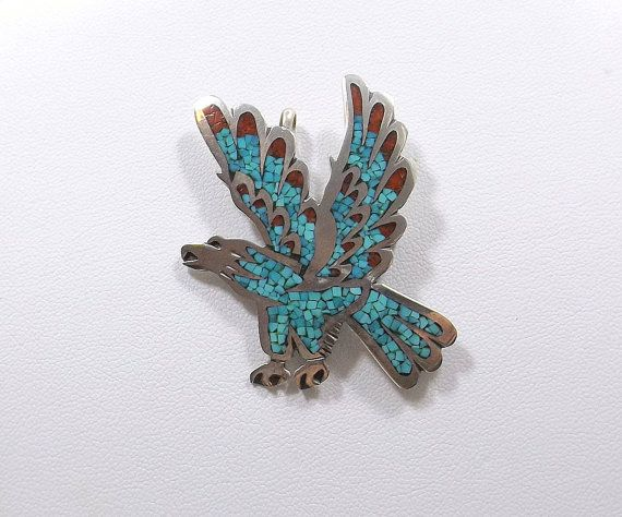 Sterling Turquoise and Red Coral Eagle Brooch Pendant by KatsCache