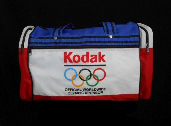 Vintage 80s Kodak Olympics Sponsor Duffel Bag , 1984 Nylon Carry On Travel Bag, Red White Blue