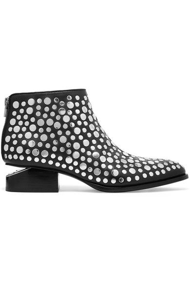 Alexander Wang - Kori Cutout Studded Leather Ankle Boots - Black - IT37.5