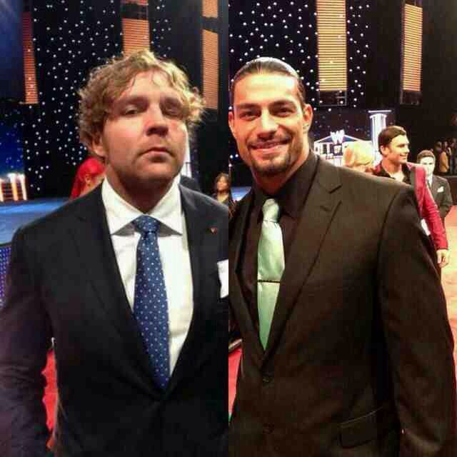 Dean Ambrose and roman reigns  Hof 2014   Credit - iwasmakingitreign tumblr