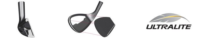 Cleveland Golf CG Black Wedges key features image. A deep under cut cavity with perimeter weighting for added forgiveness. High strength Ti clubface for high ballspeeds and amazing distance.