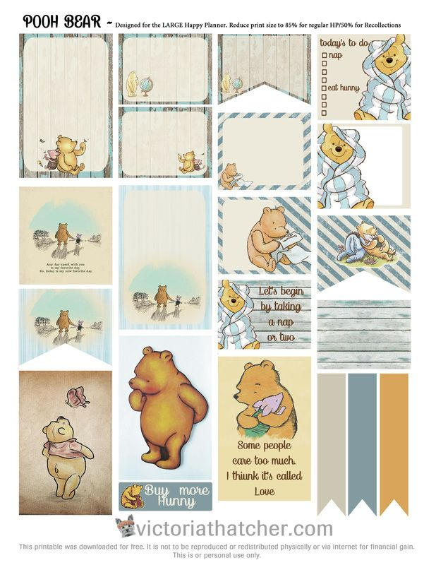 Planner & Journaling Printables ❤ Free Pooh Bear Planner Stickers | Victoria Thatcher