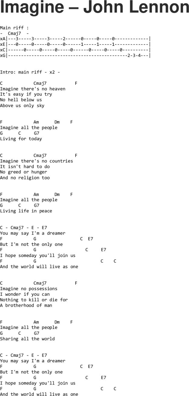 Imagine - John Lennon ukulele tabs : Guitar lyrics and chords : Pinterest : Musik