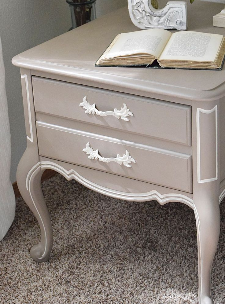 French style table makeover. Bedside table makeover using chalk paint. | Timeless Creations, LLC