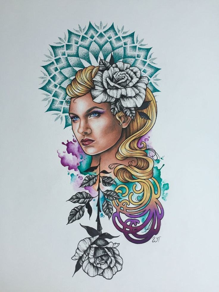 Drawing by Whitney Thompson. Mix media drawing mandala lady and roses tattoo