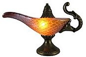 amber stained glass Aladdin's Lamp adds the perfect accent to desks or nightstands of Middle Eastern decor lovers