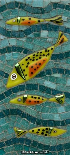 Yellow Fish ~ Glass Fusions and Vitreous Glass mosaic ~ by Martin Cheek