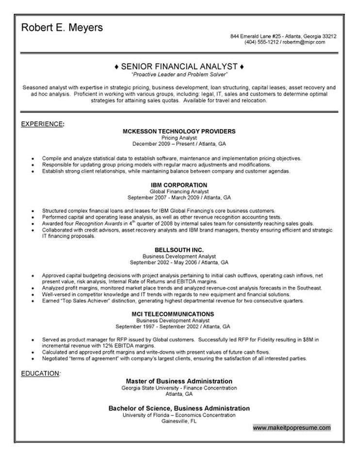 14 best Sample of professional resumes images on Pinterest - analyst resume example