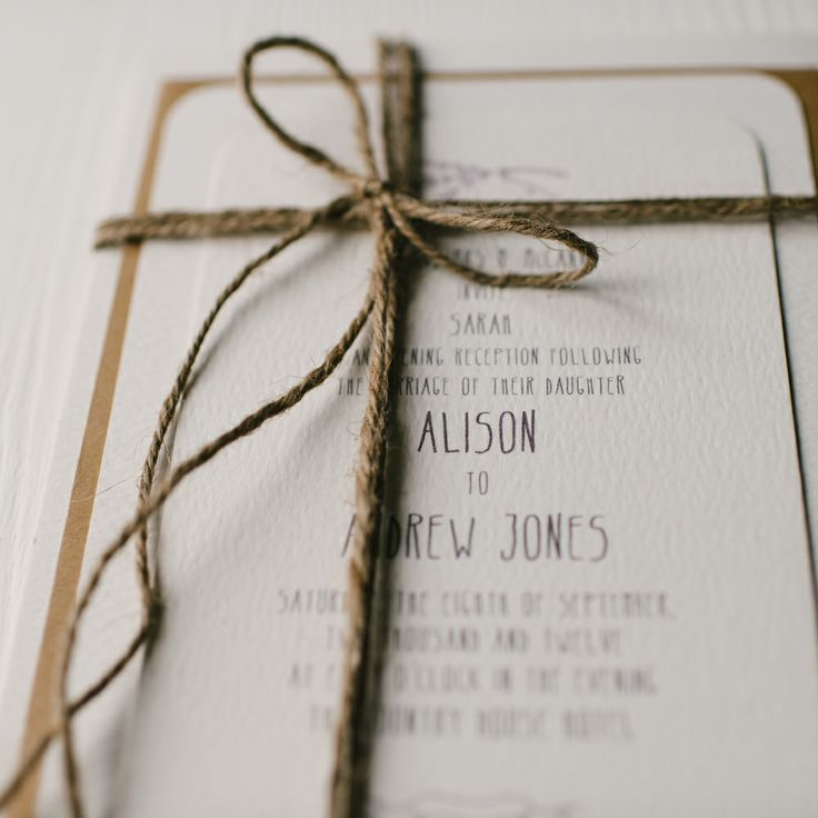 Lavender & twine rustic invitation set by arbee cards