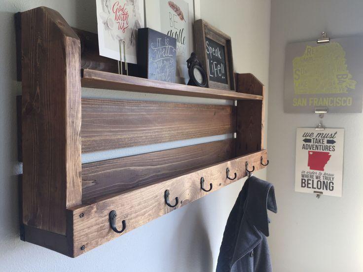 shelf coat rack wood