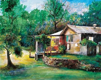 Imfpa Green Cottage Painting Contemporary Wall Art on Shimply.com