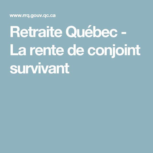 Retraite Québec - La rente de conjoint survivant