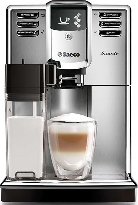 Saeco Incanto HD8917/01  Saeco Incanto HD8917/01: espresso volautomaat De Saeco Incanto HD8917/01 is een volautomatische espressomachine met 100% keramische molens en 7 koffievarianten voor ongekend koffiegenot! Met de OneTouch-functie maak je met één druk op de knop jouw favoriete kop koffie. De Saeco Incanto HD8917/01 is gemakkelijk in het gebruik bevat een snel opwarmende waterboiler en werkt ook met gemalen koffie. Meer informatie:Saeco-koffiemachines vergelijken Espresso volautomaat…
