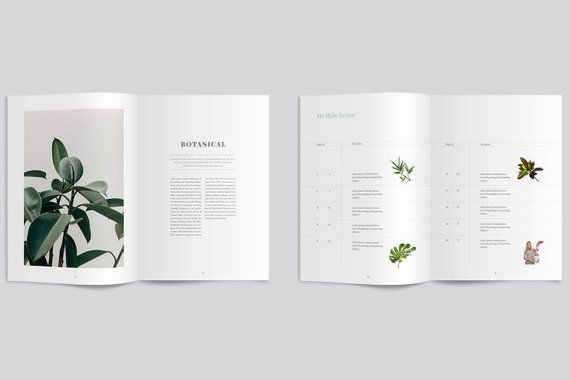 Botanical Magazine Template | InDesign Minimal Magazine Layout | Multiple Usable Magazine Template A