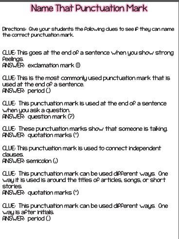 What are some commonly used punctuations and how are they used?