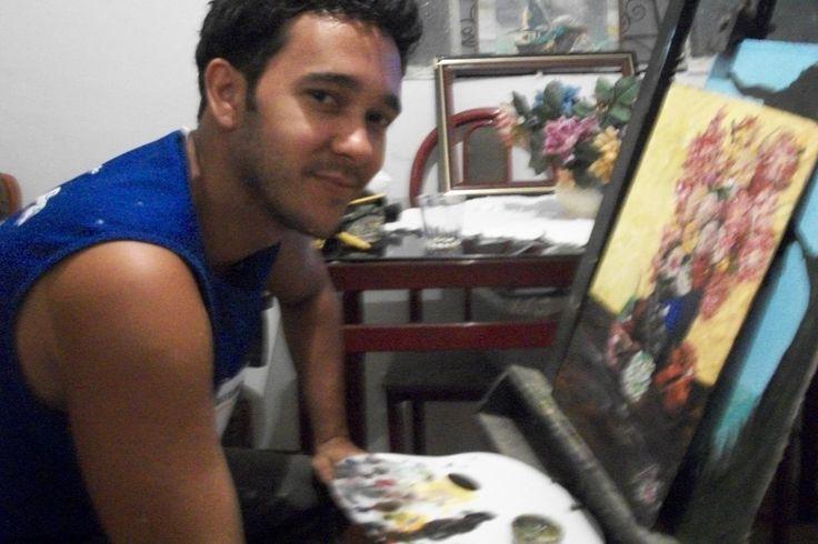 Pintando um quadro de flores para presente