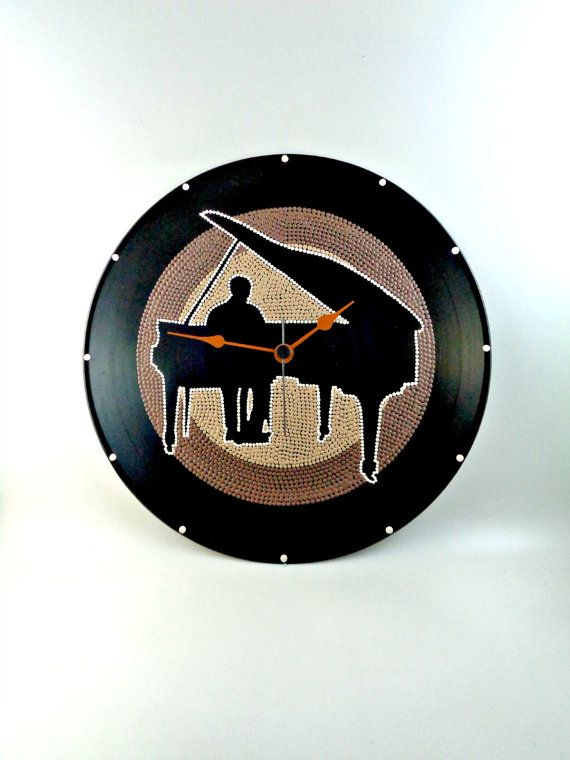 Pianist Vinyl Clock Jazz Hand Painted Upcycled by InsaneDotting