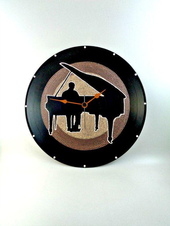 Pianist Vinyl Clock Jazz Hand Painted Upcycled by InsaneDotting