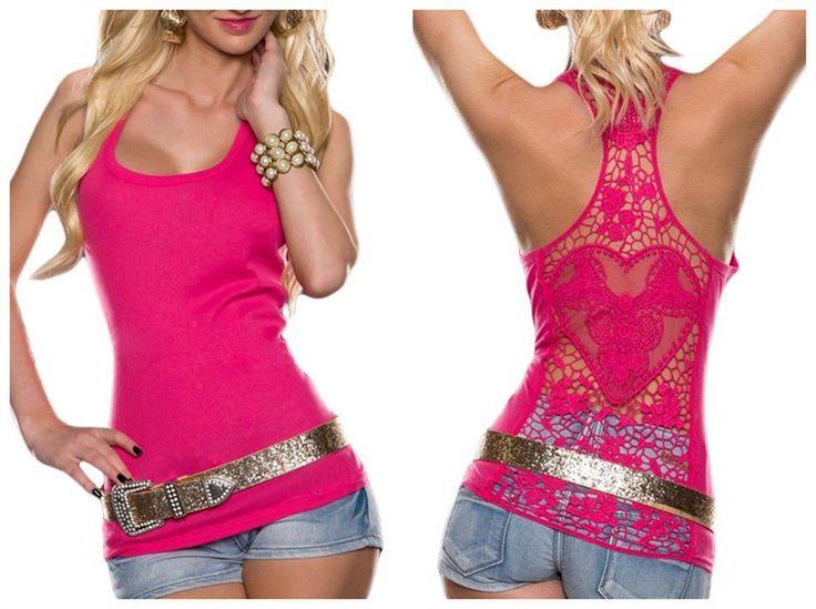 Sexy Cut Out Clubwear Crochet Lace Back Tank Top