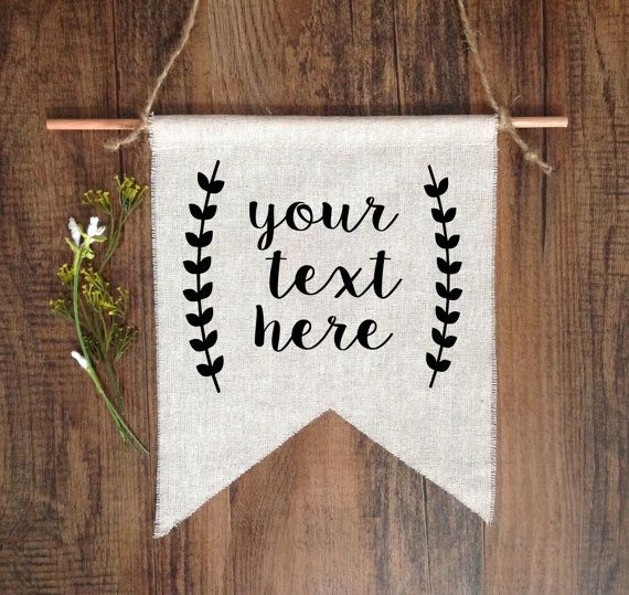 Wall Decor CUSTOMIZED Your Saying Personalized Text Art Wall Hanging Linen Flag Rustic Banner Pennant Black Natural Chevron Home Decor