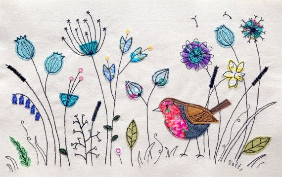 Benutzerdefinierte persönliche Stickerei. Ihre Ideen, Ihre Größe. Applique genähte Textilkunst. Botanischer Natur Wildblumen. Wand Kunst Bild Geschenk
