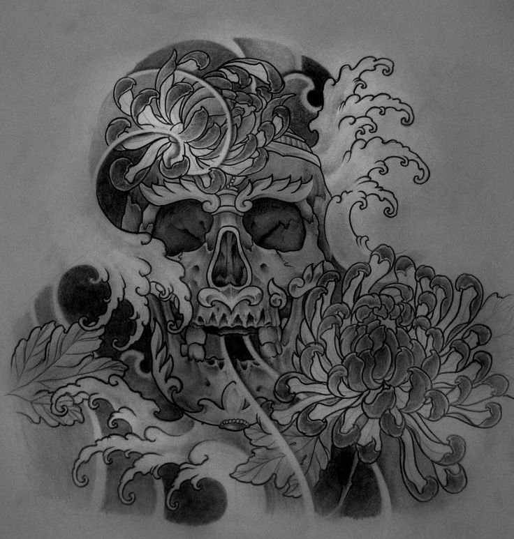 Sketch For A Japanese Sleeve: Tibetan Skull Halfsleeve Design By ~TeroKiiskinen On