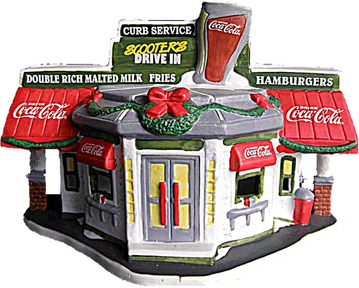 Coca Cola Scooter's Drive In Town Square Village - Mint 1996 Lighted NIB