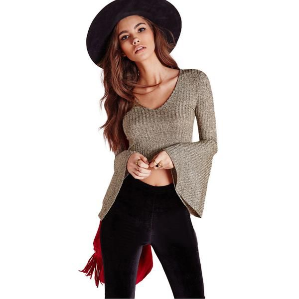 Knitted Bell Sleeve Crop Top