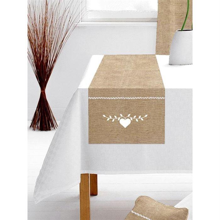 Chemin et set de table chemin de table 40x140 cm chalet blanc lin couture cuisine kitchen for Chemin de table gris et blanc