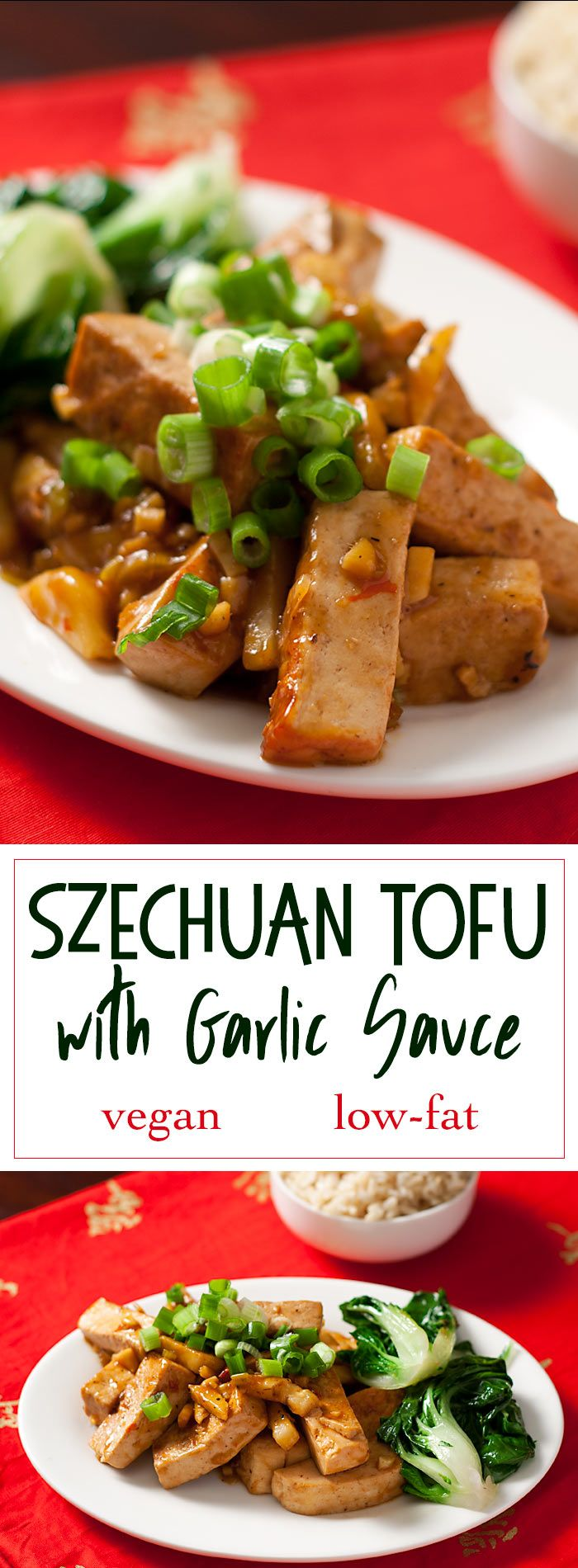 Tofu is simmered in a sweet-spicy garlic sauce to make Szechuan Tofu, a vegan variation on a traditional Chinese dish. Fresh water chestnuts add crunch.