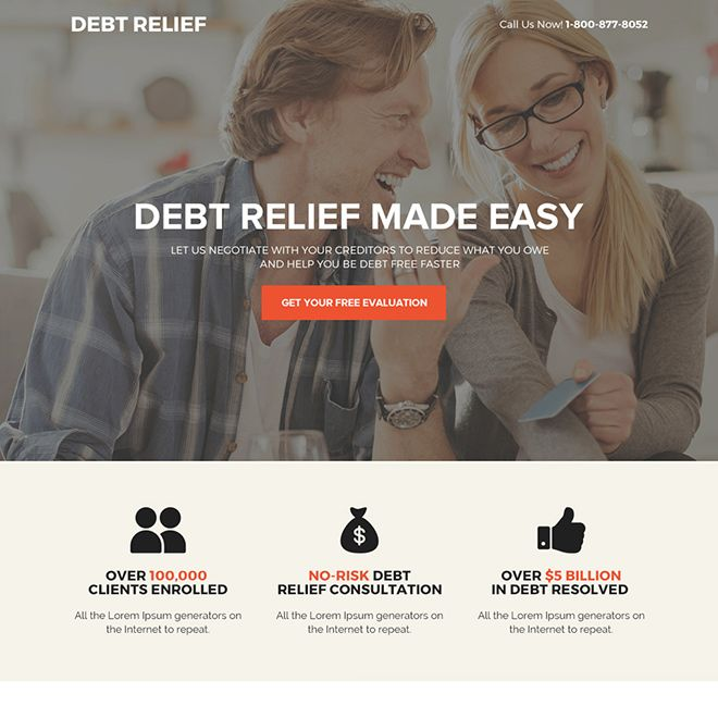 Responsive Debt Relief Or Debt Settlement Business Landing Page Design Templates For Sale Debt Relief Debt Relief Programs Debt