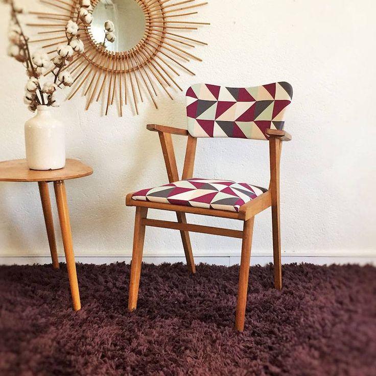 fauteuil Bridge relooké de style vintage à laide de tissu à motifs ...