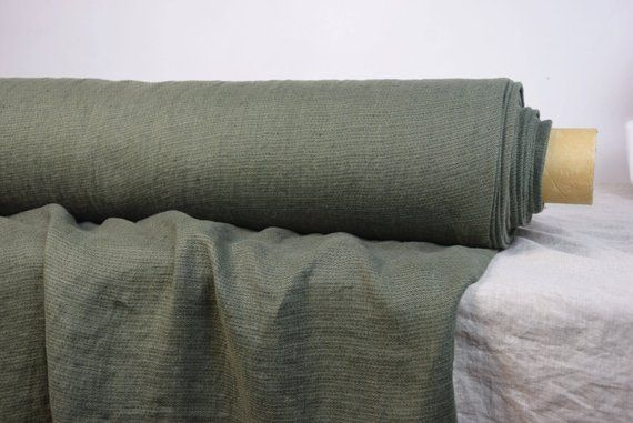 Pure 100 Linen Fabric 210gsm Muted Military Green Color Washed Softened The Last Piece 1 20x1 45m 47x57 Pure Products Linen Fabric Fabric