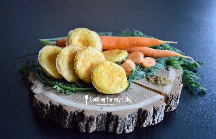 Recette de mini omelette aux carottes et cumin pour bébé (Dès 12 mois). Parfait pour commencer à manger seul ! / Baby finger food : Carrot and cumin omelette baby recipe