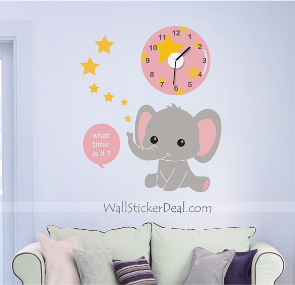 Clock Of Baby Elephant Wall Sticker Part 76