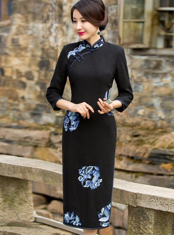 Red Women Embroidery Floral Chinese Style Cheongsam 9//10 Sleeve Qipao Dresses