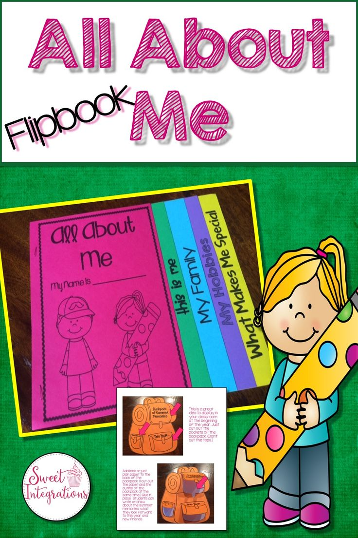 This Flipbook is a fun Back to School activity for grades 1-4. It can be printed in black and white or use bright colored copy paper.  The Flipbook contains pages:  This is me - Draw a selfie and write words that describe you My Family - Draw a picture of your family and write sentences about your family My Hobbies - Write and draw about your favorite hobbies Things that make me special - Write and draw about things that make you unique or special Backpack Activity - Cut out pockets and…