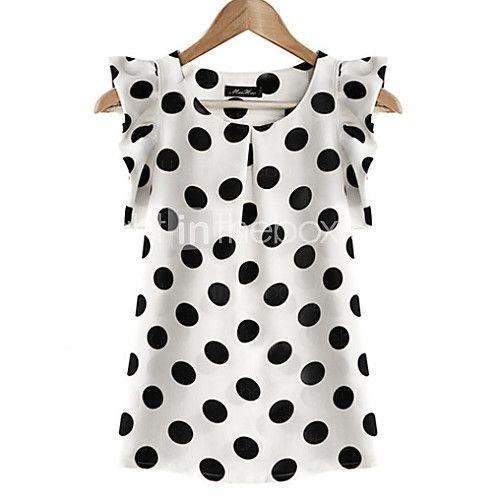 Women's White Polka Dots Round Neck Ruffle Blouse, Chiffon Short Sleeve - USD $8.99