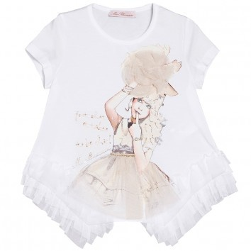 Miss Blumarine Girls White Cotton  T-Shirt at Childrensalon.com