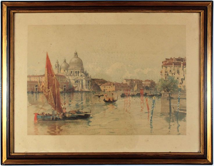 A colourful litography of the  Canal Grande in Venice. #Venice #litography #canal