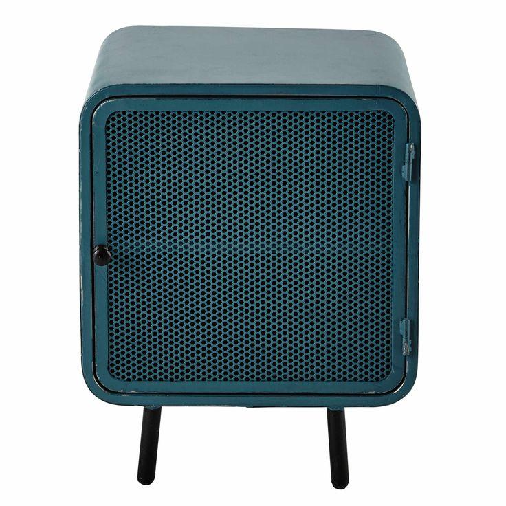 Table de chevet en métal bleue L 44 cm Knokke | Maisons du Monde
